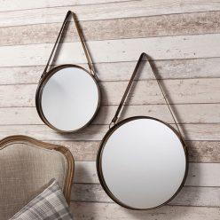 Espelhos Redondos | Conjunto de 2 Espelhos de Parede | Bronze | D.ESP-1 | Iluti
