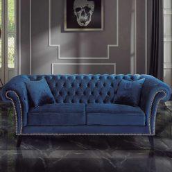 Sofá | Veludo Azul Elegante | E.SFA-1