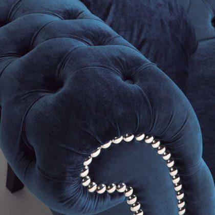 Sofás Modernos | Veludo Azul Elegante | Braço | E.SFA-1