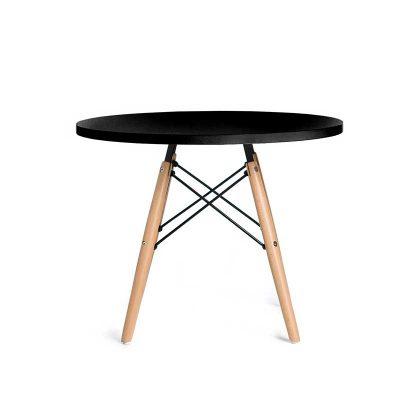 Mesa de Centro | Sala De Estar | Mesa De Centro Redonda | Design Original | Preta | Frente | E.MSA-32