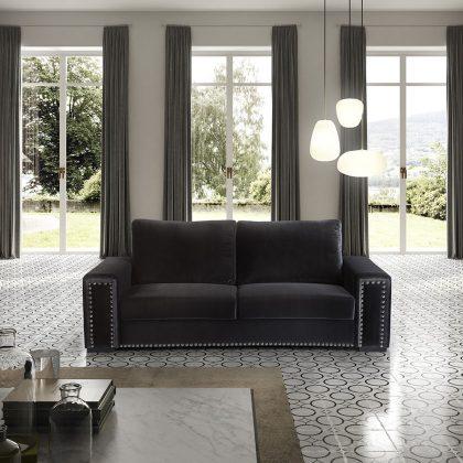 Sofá 3 Lugares | Sofás Modernos Em Veludo Luxuoso | Preto | E.SFA - 5