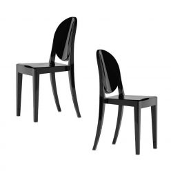 Cadeira De Jantar | Conjunto de 2 | Preta | Canto | J.CDA-21