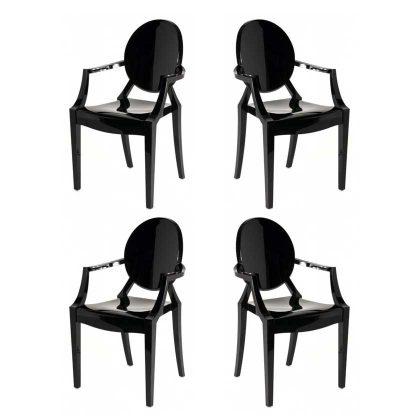 Cadeira De Jantar | Design | Preta | Conjunto de Quatro| Canto | J.CDA-20P