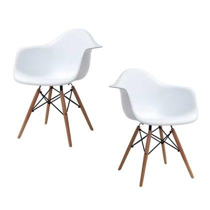 Cadeira De Jantar | Sala De Jantar Contemporânea | Conjunto de 2 Brancas | J.CDA-37