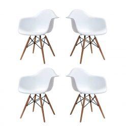 Cadeira De Jantar | Sala De Jantar Contemporânea | Conjunto de 4 Brancas | J.CDA-37P