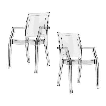 Cadeira Para Sala De Jantar | Cadeira De Jantar Transparente | Conjunto de Duas | J.CDA-27
