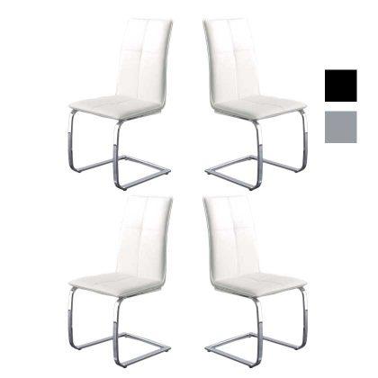 Cadeira | Sala De Jantar | Cadeiras Modernas Brancas | Contemporânea | Conjunto de Quatro | Canto | J.CDA-6P