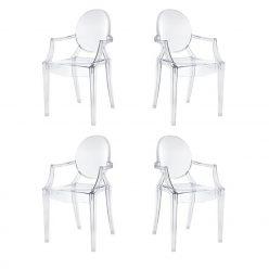 Cadeiras De Jantar | Mesas De Jantar | Design | Conjunto 4 | Com Braços | Canto | J.CDA-18P