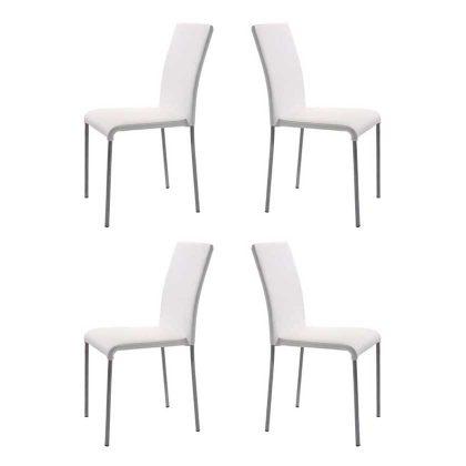Cadeiras Para Mesa De Jantar | Design Intemporal | Conjunto 4 Brancas | J.CDA-4P