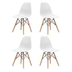 Cadeiras Para Sala De Jantar | Clássico Design | Conjunto 4 | Brancas | J.CDA-35P