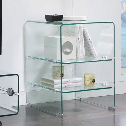 Mesa de Cabeceira | Vidro Transparente | Quarto | Q.MSA-20